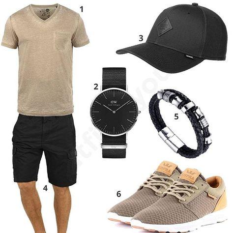 Schwarz Graues Outfit für Männer mit Reebok Schuhen (m0406