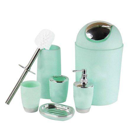 6pcs//Set Bathroom Accessory Bin Soap Dish Dispenser Tumbler Toothbrush Holder