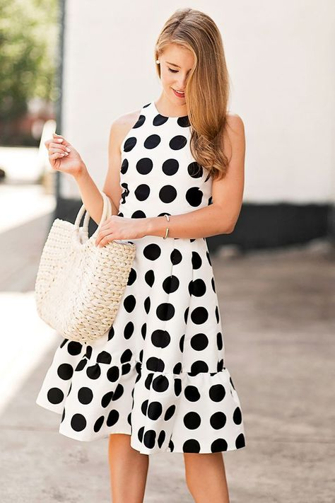 polka dot flounce dress | a lonestar state of southern with straw tote bag PINTEREST: @ecclesiasticalsewing