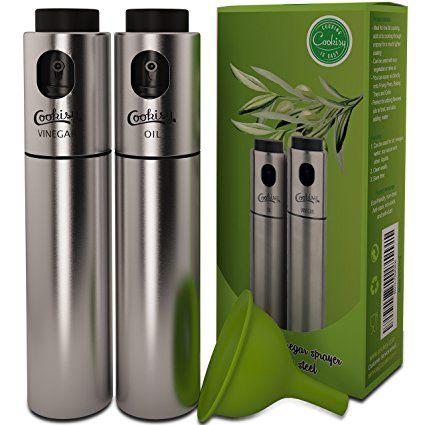 Transparent Food-Grade Glass Oil Spray,Portable Spray Bottle Vinegar Bottle Oil Dispenser for BBQ//Cooking//BBQ//Salad//Baking//Roasting Kitchen Stainless Steel Olive Oil Sprayer