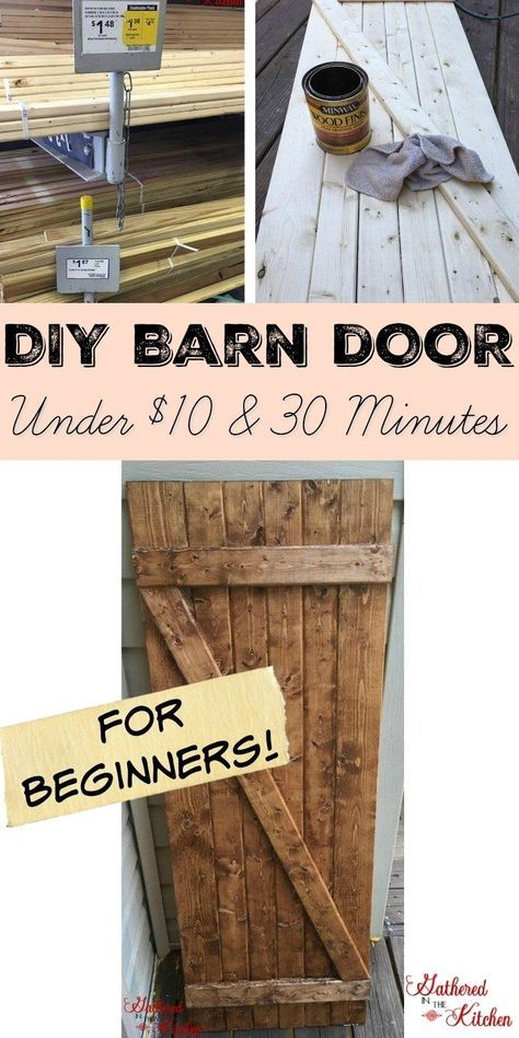 Diy Barn Door Under 10 In 30 Minutes Gathered In The Kitchen Diy Barn Door Diy Door Family Room Walls