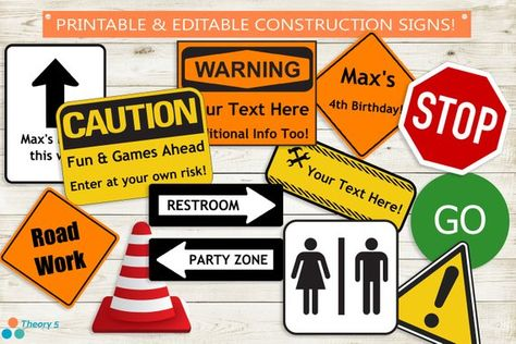 Construction Party Signs // Instant Download Editable PDF // 13 Signs, Adobe Reader Edit, Party Decor, Decorations, Road, Custom, Text, Stop