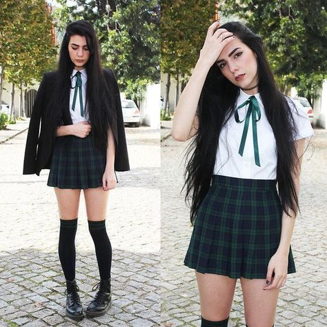 Front Row Shop Shirt, Tailored Tartan Skirt, Calzedonia Over The Knee Socks, Dr. Martens Boots Under Hogwarts robes school uniform