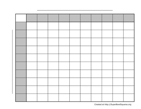 2013 printable super bowl squares spreadsheet free download - foot ball square template