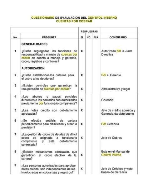 Cuestionario De Control Interno De Inventario Control Interno Cuestionarios Cuentas Por Cobrar