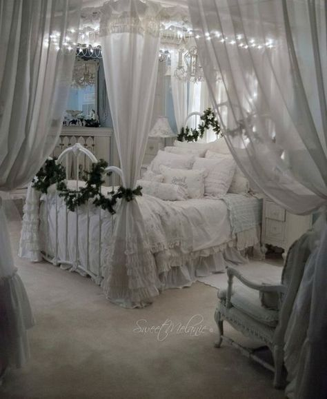 Romantic white shabby chic bedroom. Heavy use of vintage ...