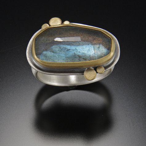 Organic Labradorite Ring with Five Gold Dots