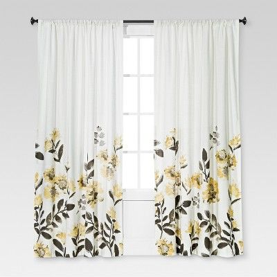 84 X54 Climbing Floral Window Curtain Panel Yellow Threshold In 2020 Floral Curtains Curtains Panel Curtains