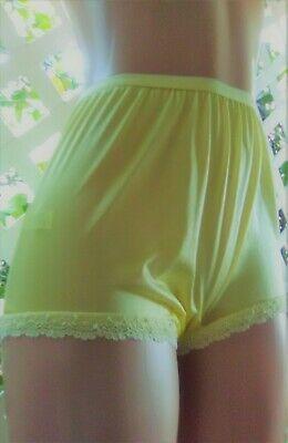 Carole's Usa  Sunny Yellow Nylon & Scalloped Lace Granny Panty Brief 7/l