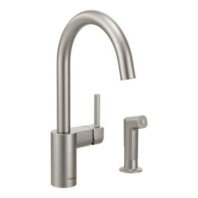 Moen Align Single Handle Side Sprayer Kitchen Faucet In Spot