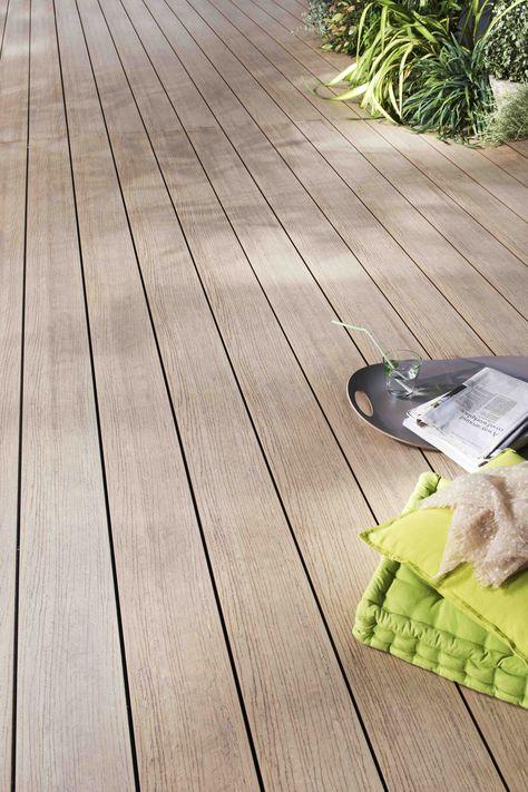 Lame de terrasse modèle OPTIMA PLUS http://www.lapeyre.fr/sols/terrasses-et-balcons/lames/bois-composite/lame-de-terasse-optima-plus-bois-composite.html