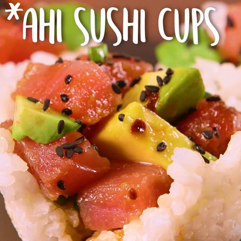 Ahi #Sushi #Cups Skip the mat-and-roll and whip out the #muffin tin instead ... Ahi #Sushi #Cups Tuna Poke, rolls, bowls, costume, recipe