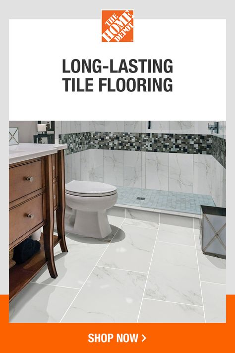 Perfect for bathrooms and versatile enough for kitchens and other spaces, tile flooring stands the test of time. And with flexible delivery options, The Home Depot makes it easier to finish your space. Click to explore tile flooring from The Home Depot.