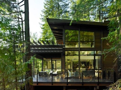 prefab eco house, wall of windows, great deck (incl sheltered portion) and pergo. Home Decorating Ideas Modern Modern Prefab Homes, Modern Cabins, Tree House Designs, Eco Architecture, Contemporary Architecture, Dream House Exterior, Craftsman House Plans, Modern Exterior, Green Building