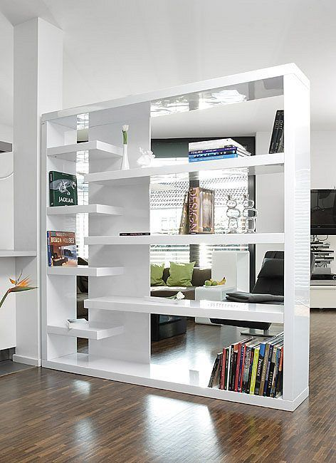 Salesfever Shelf Room Divider White High Gloss Mountain