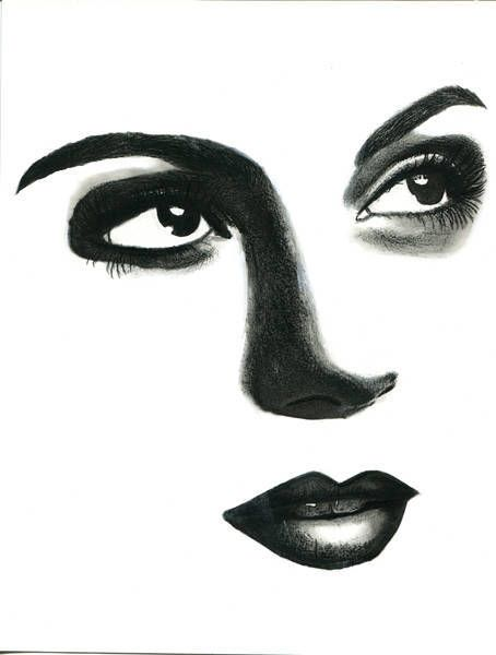 Original Art Drawing Womans Face Brown Eyes Red Lips Illustration