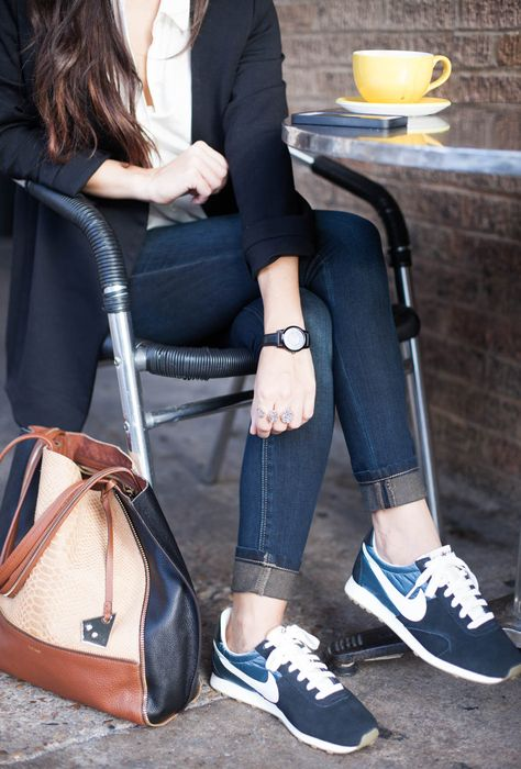 Love the whole outfit. Sneakers, jeans, watch ,blouse, purse.