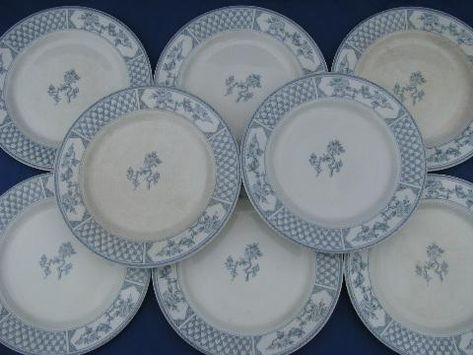The Exeter blue & white vintage English china plates, old Johnson Bros
