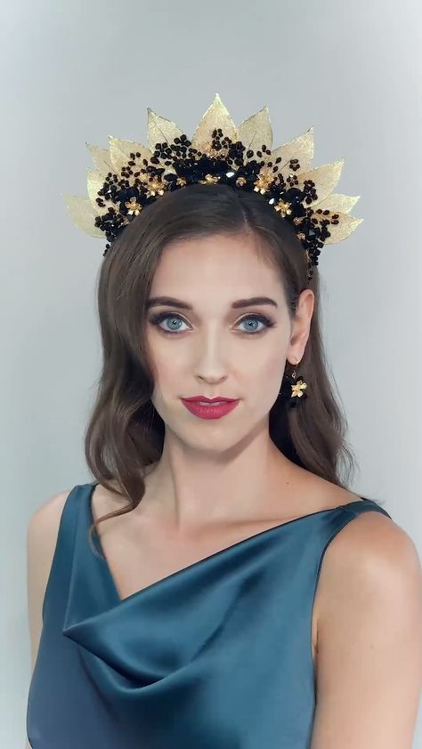TITANIA BLACK CROWN-hair accessories, hair fashion, hairstyle, wedding hair, leaf crown, crown