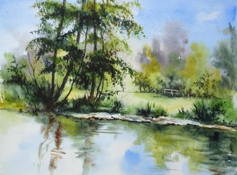 Aquarelle Paysage Abby Campagne Riviere Reflets Arbres Rochers
