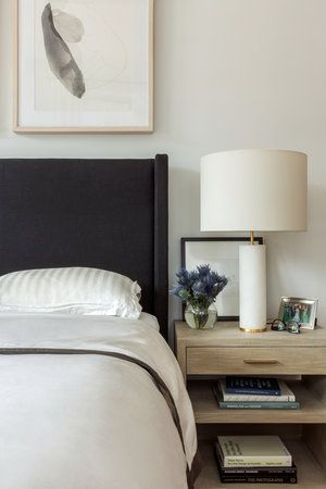 Black Headboard Honey Stained Wood Nightstand Ashley Darryl Home Decor Bedroom White Bedroom Design Bedroom Interior