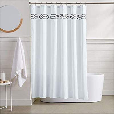 Amazon Com Amazonbasics Trellis Embroidered Shower Curtain 72 Inch Black Home Kitchen With Images Shower Curtain Monogram Waffle Weave Shower Curtain