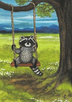 Raccoon Summer Tree Swing Art Original Painting ACEO | eBay
