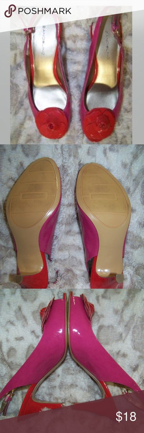 Pretty in Pink!  Bandolino Pumps with Flower Toe Pretty in Pink!  Bandolino Pumps with Flower Toe Red and Pink in GREAT SHAPE! Bandolino Shoes Heels