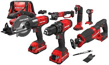 Craftsman V20 Cordless Drill Combo Kit 7 Tool Cmck700d2 Power Tool Kits Cordless Power Tools Tools