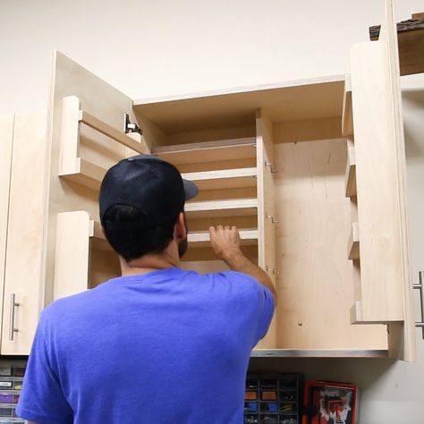 How to make wall cabinets with 5 different storage options.  The cabinets are great shop storage for any garage workshop of if you just need some storage ideas for a mudroom or laundry room.  Click through for full video and plans to make your own DIY cabinets. #shopstorage #garageworkshop #diycabinets