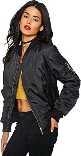 Luouse Women Vintage Bomber Jacket Classic Zip up Biker Jacket Stylish Padded Coat