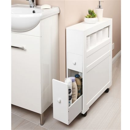 Designed To Make Use Of Every Centimetre Of Space This Cabinet Has A Shelf For Spare Toilet Ti Bathroom Organisation Small Bathroom Storage Bathroom Cupboards