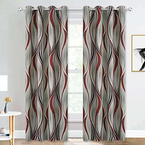 Nicetown Red Wave Curtains 84 Inches For Living Room Abstract Canyon Scenery Room Darkening Curtains Black And Syrah Red In 2021 Wave Curtains Curtains Panel Curtains