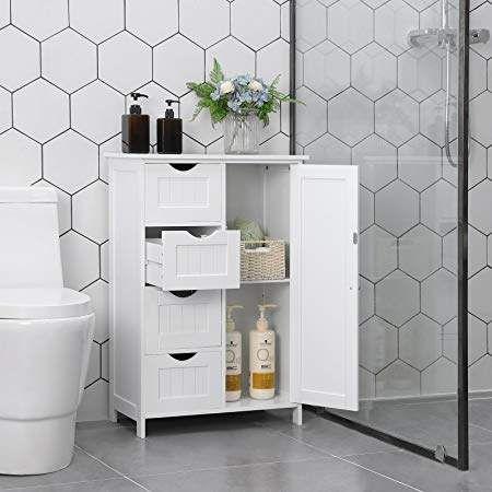 Vasagle Bathroom Storage Cabinet Floor With Adjustable Shelf And