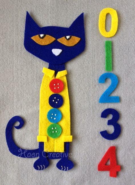 Reserved for SW - Pete the Cat and His Four Groovy Buttons Felt Story / Flannel Board Set Flannel Board Stories, Felt Board Stories, Felt Stories, Flannel Boards, Book Activities, Toddler Activities, Toddler Learning, Pete The Cat Buttons, Pete The Cats
