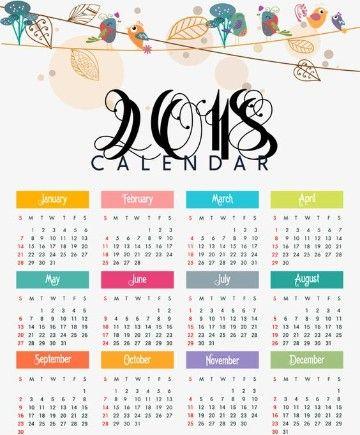 Unos Variados Modelos De Calendarios 2018 Para Imprimir