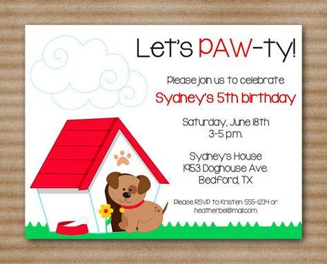 Dog Birthday Invitation Puppy Party Pet