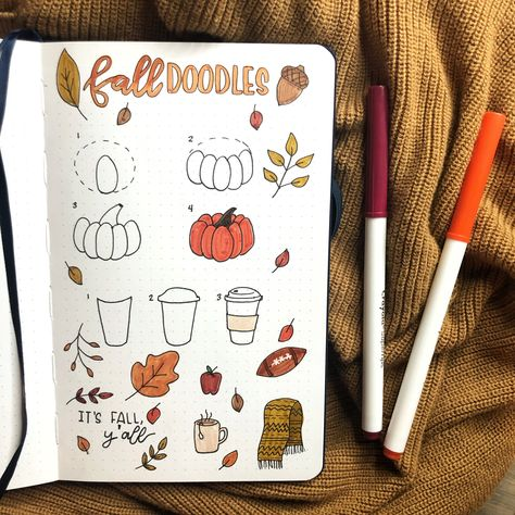 How to draw pumpkins and fall doodles to make a fall bucket list in your bullet journal aesthetic pumpkin Fall Doodles for Bullet Journal Bullet Journal Comment, Bullet Journal Writing, Bullet Journal Notebook, Bullet Journal Aesthetic, Bullet Journal Ideas Pages, Bullet Journal Spread, Bullet Journal Inspo, Bullet Journal Layout, Autumn Bullet Journal