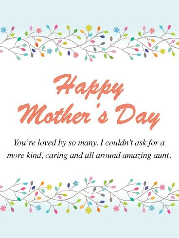 Loved By So Many Happy Mother S Day Card For Aunt Birthday Greeting Cards By Davia Happy Mother S Day Card Mother S Day Greeting Cards Happy Mothers