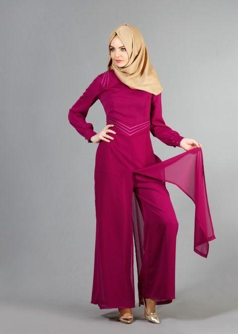 T 52413 Fy Collection Boncuk Islemeli Pantolonlu Abiye Tulum Fusya Trend Tesettur Moda Stilleri The Dress Giyim