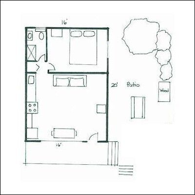 one room cabin plans Floor plan of 1 bedroom cottage at Maple