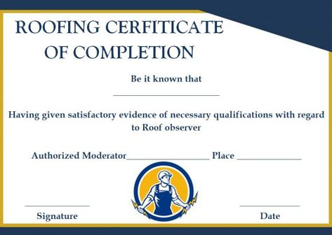Certificate Of Completion For A Roof Fill 15