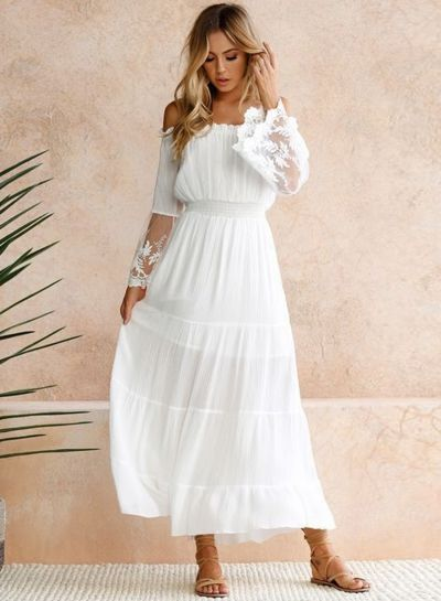 d485383a33 The dress is featuring slash neck, off the shoulder, long flare sleeve, lace  panel, elastic waist, solid color and maxi length.
