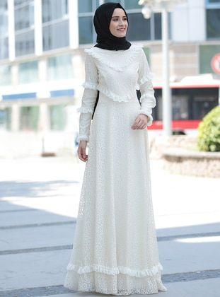 Weiß - Mit Innenfutter - Stehkragen - Festlicher Hijab
