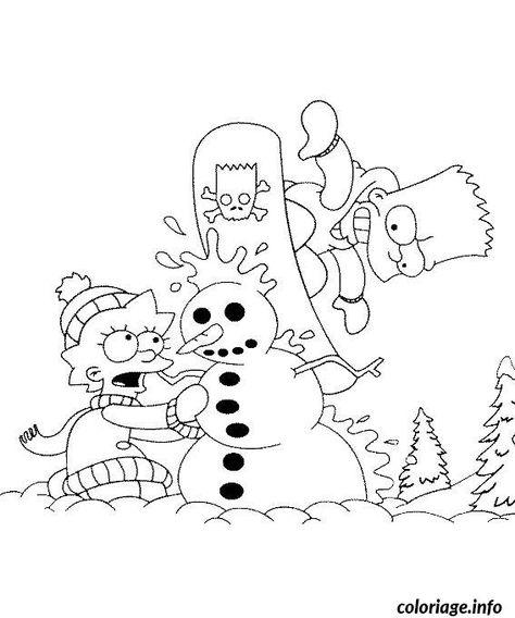 Coloriage Noel Des Simpson Dessin A Imprimer Coloriage Noel