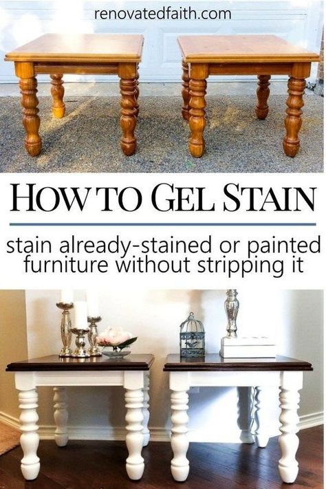 EASY Gel Stain Over Stain Technique (Also How to Gel Stain Over Paint!) is part of Staining furniture - Never use furniture stripper again! With this easy stain over stain technique, I share how to stain any surface and even how to gel stain over paint! Gel Stain Furniture, Furniture Projects, Furniture Making, Furniture Makeover, Table Furniture, Kitchen Furniture, Furniture Stores, Cheap Furniture, Painting Furniture White