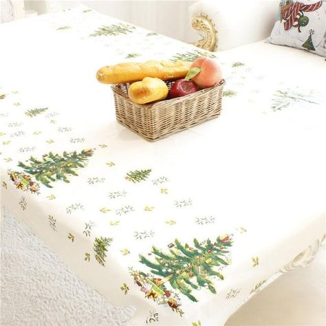 110*180cm Home Xmas Table Cover Festival Decor Santa Claus Christmas Tablecloth