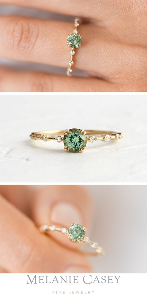 A green Montana sapphire centers our signature distance setting- a delicate gold band dotted with white diamonds. Find this one-of-a-kind piece and more at ! Cute Rings, Pretty Rings, Beautiful Rings, Small Rings, Engagement Ring Rose Gold, Dream Engagement Rings, Alternative Engagement Rings, Vintage Engagement Rings, Ring Spacer