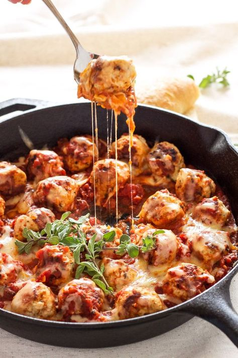 Italian flavored turkey meatballs stuffed with mozzarella cheese and simmered in delicious marinara sauce.