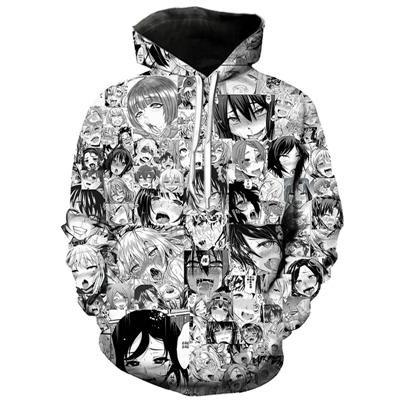 New Fashion Women//Men Anime Ahegao Funny 3D Print Casual Hoodies Sweatshirt